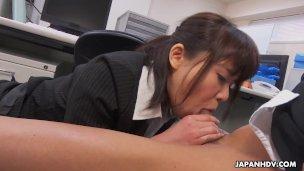 Japanese assistant, Haruka Miura inhales dick, uncensored